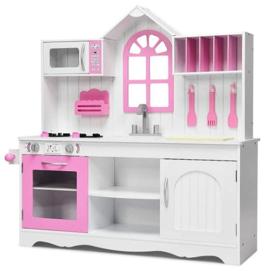 Giantex Toddler Wood Kitchen Playset Toy